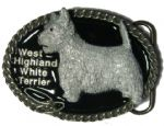 West Highland Terrier Belt Buckle + display stand. Code BM8